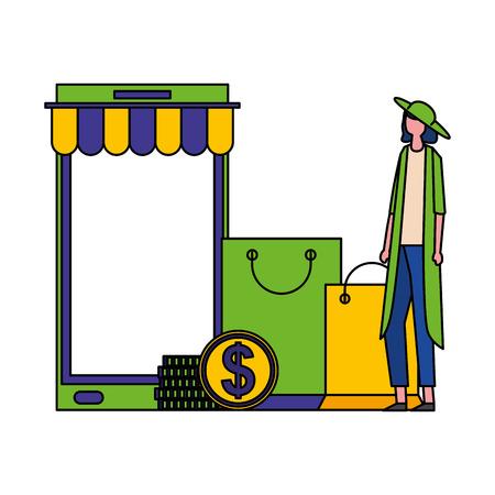 woman mobile shopping online bag money vector illustration