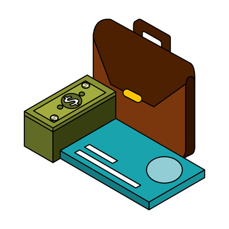 business briefcase bank card and money financial vector illustration