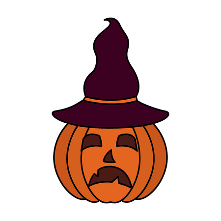 halloween day sad creepy pumpkin using hat vector illustration Illustration