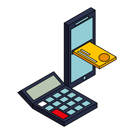 mobile bank card calculator money financial business vector illustration Foto de archivo - 110308500