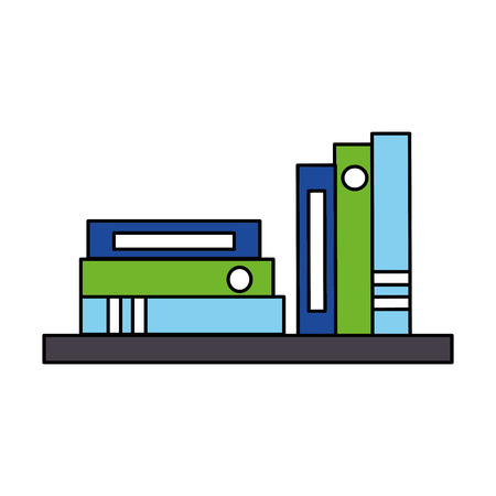 bookshelf books and binders office vector illustration Ilustrace