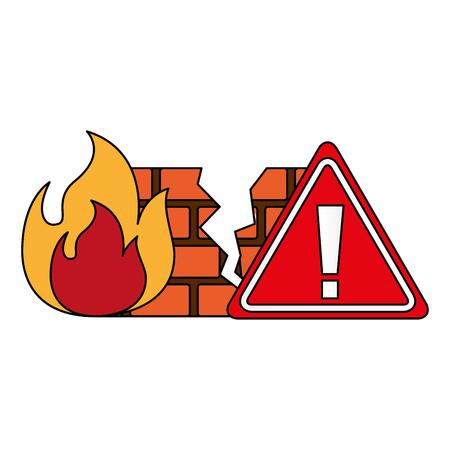 firewall warning cyber security digital vector illustration Vector Illustration