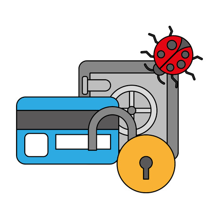 safe box bank virus security digital vector illustration Vector Illustration