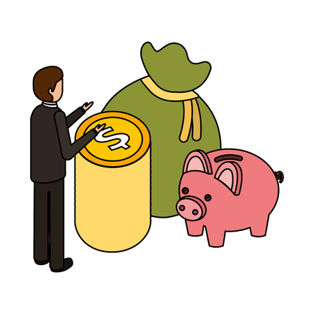 businessman money piggy bank and bag business vector illustration Vettoriali