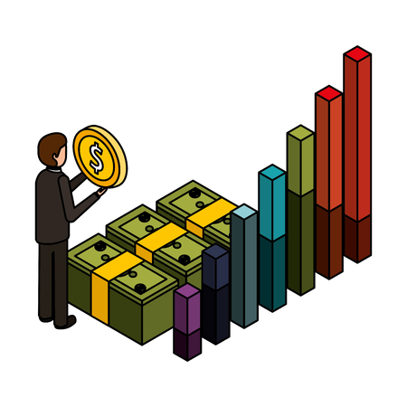 businessman with coin stack money chart business vector illustration Vector Illustratie