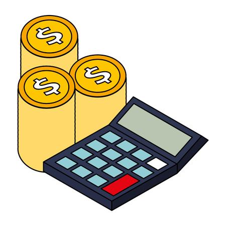 stack money calculator financial business vector illustration Ilustrace
