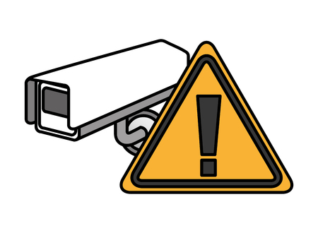 surveillance camera warning cyber security digital vector illustration
