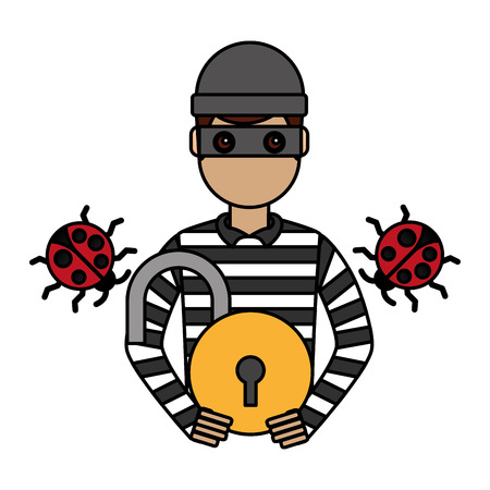 hacker padlock virus cyber security digital vector illustration
