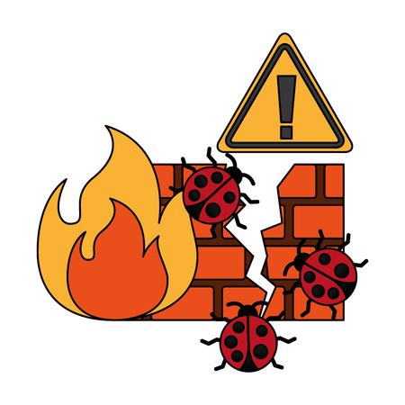 firewall virus warning cyber security digital vector illustration