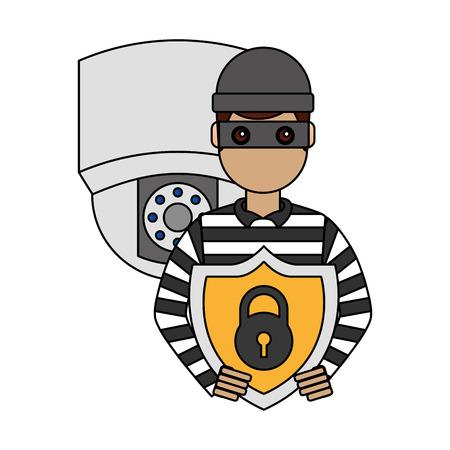 hacker camera shield protection cyber security digital vector illustration Illustration