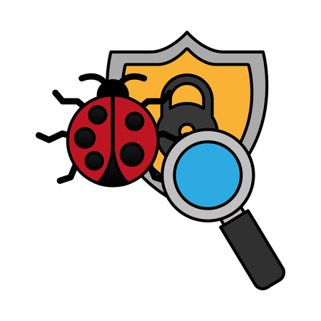 virus shield magnifying glass cyber security digital vector illustration Illustration
