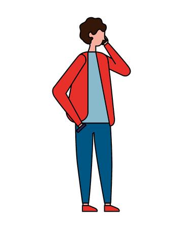 man using mobile on white background vector illustration
