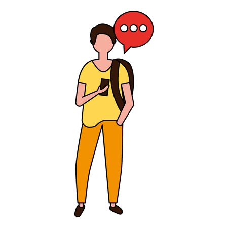 man using mobile with speech bubble vector illustration