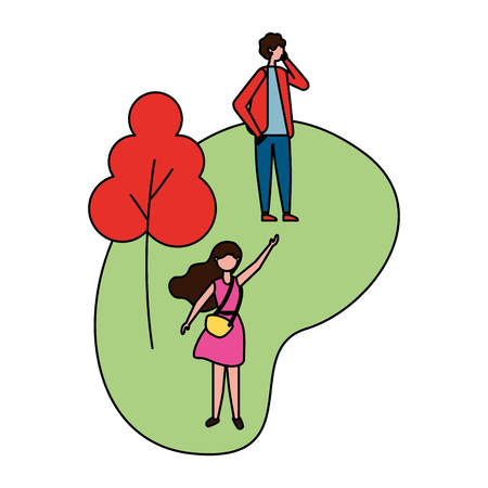 man using mobile and woman in the park vector illustration Foto de archivo - 110319160