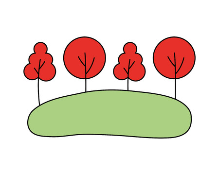 trees forest meadow on white background vector illustration