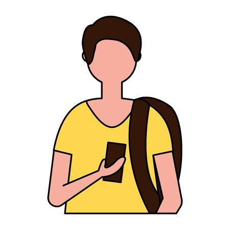man character cartoon portrait on white background vector illustration Illusztráció