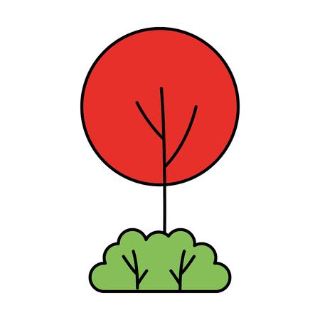 round tree bush on white background vector illustration