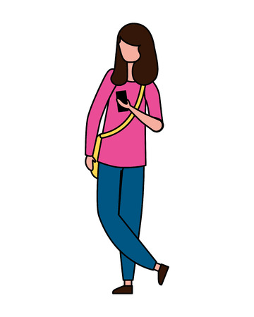 young woman standing character on white background vector illustration Foto de archivo - 110311592