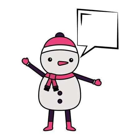 merry christmas snowman bubble chat vector illustration