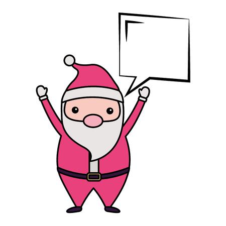 merry christmas santa claus hands up bubbe vector illustration Ilustração
