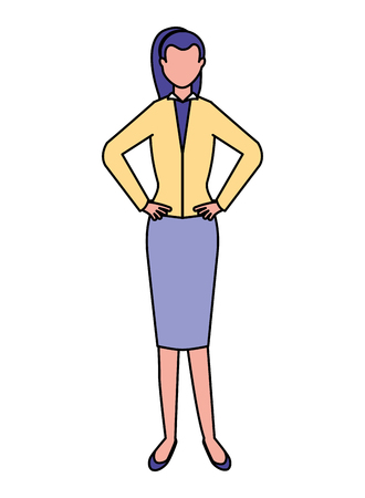 business woman employee standing character vector illustration 写真素材 - 110319182