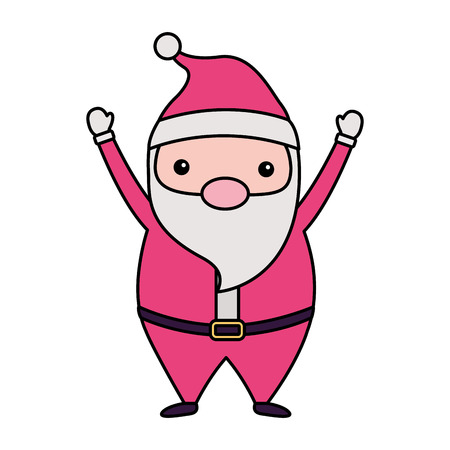 merry christmas cute santa claus using hat hands up vector illustration