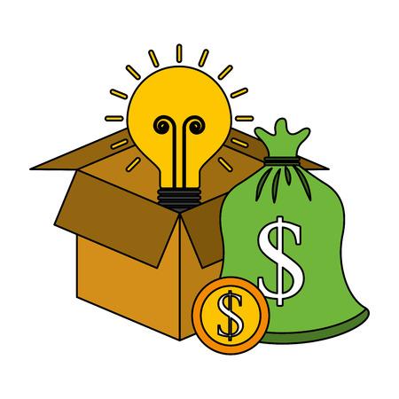 cardboard box bag coin idea save money vector illustration Ilustrace