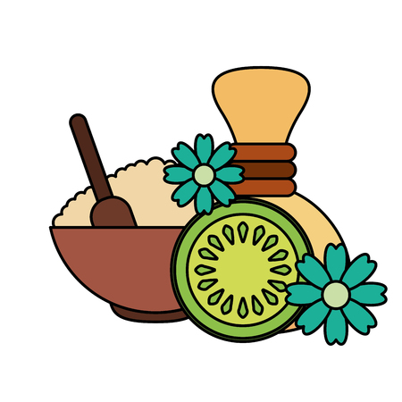 skin cream hot compress fruit flower healthy spa vector illustration Ilustrace