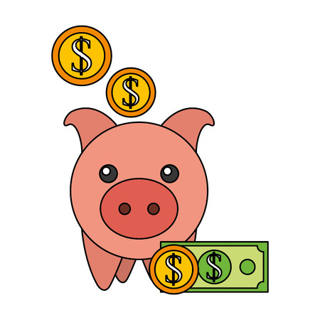 piggy bank coins banknote save money vector illustration