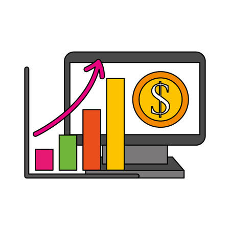 computer statistics diagram coin save money vector illustration Stock Vector - 110400999