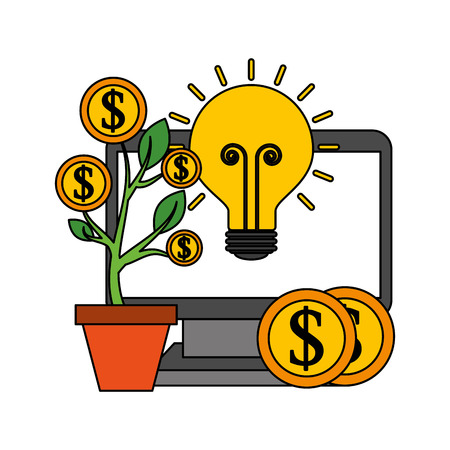 computer plant coins currency and bulb idea save money vector illustration