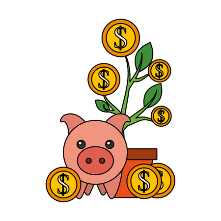 piggy bank plant growth coins save money vector illustration