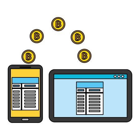 mobile computer transaction bitcoin fin tech business vector illustration