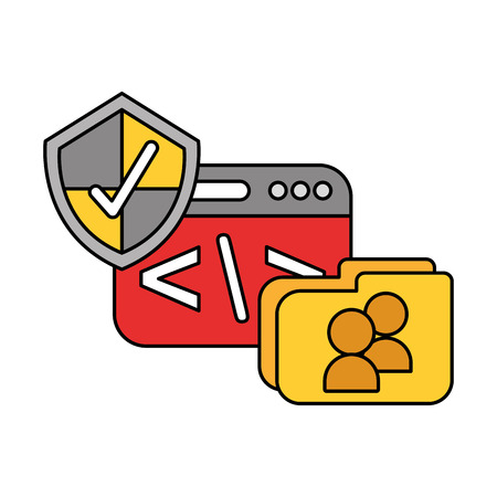 coding folder shield check mark data technology vector illustration