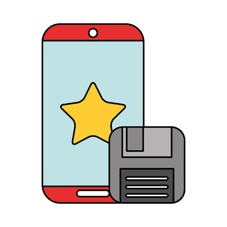 mobile and floppy copy data technology vector illustration
