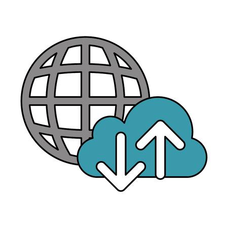 cloud computing world upload download data technology vector illustration Banque d'images - 110403340