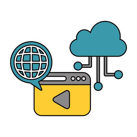 cloud computing world connection data technology vector illustration
