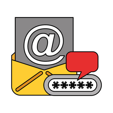 email message password data technology vector illustration