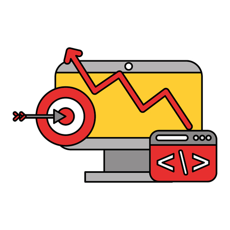 computer code target data technology vector illustration 向量圖像