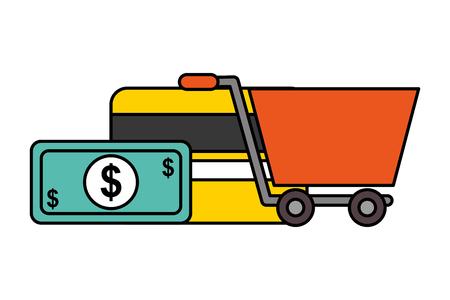 shopping cart money bank card nfc payment technology vector illustration