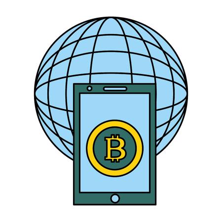 mobile world bitcoin fin tech business vector illustration Illustration