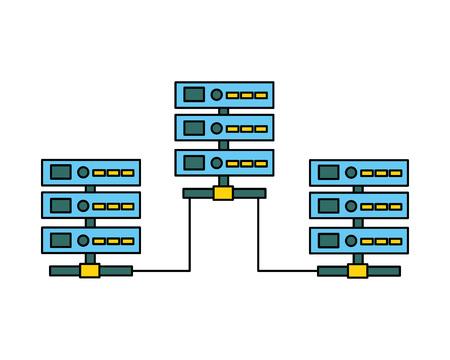 database server center technology connection vector illustration Illustration