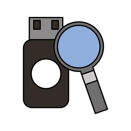 flash drive and magnifying glass programming coding language vector illustration Illustration