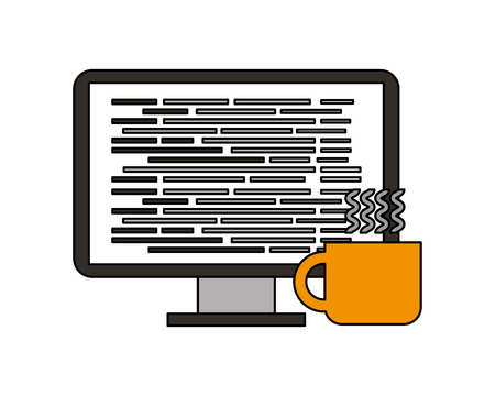 coffee cup computer programming coding language vector illustration