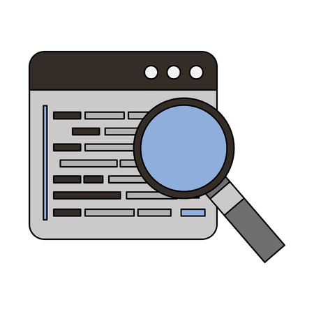 website magnifying glass programming coding language vector illustration Ilustração