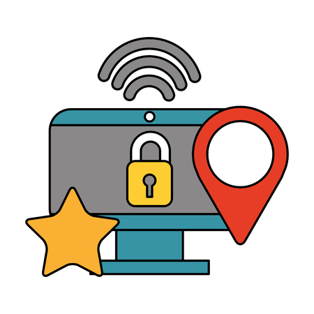 computer security location internet data technology vector illustration  イラスト・ベクター素材