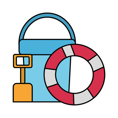lifebuoy bucket and shovel beach vector illustration