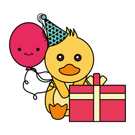 cute duck birthday gift balloon vector illustration