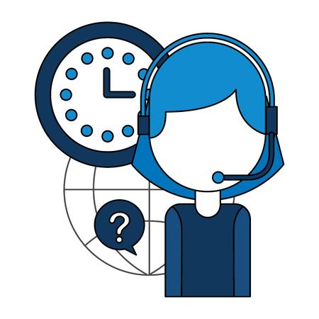 operator woman clock call center service vector illustration