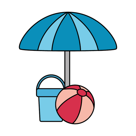 umbrella bucket and ball beach vector illustration